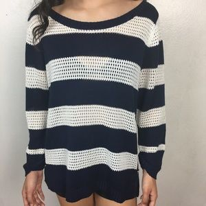New York & Company Striped Open Knit Blouse Top